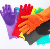 Magic Cleaning Gloves Siliconen Schoonmaak Handschoenen met Ingebouwde Borstels voor afwas, afstoffen, badkamer, auto en keuken, multi-functionele huishoudhandschoen  - Poetshandschoenen - Huishoudaccessoires schoonmaakhandschoenen met spons Oranje