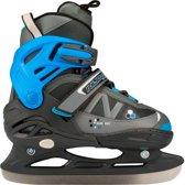 Nijdam 3141 Junior IJshockeyschaats - Verstelbaar - Semi-Softboot - Antraciet/Blauw - Maat 31-34