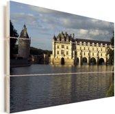 Rivier voor het Kasteel van Chenonceau in Frankrijk Vurenhout met planken 60x40 cm - Foto print op Hout (Wanddecoratie)