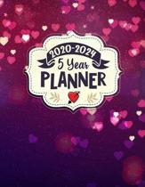 2020 - 2024 5 Year Planner: Pink and Purple 60 Months Calendar and Organizer, Monthly Planner with Holidays. Plan and schedule your next five year