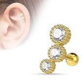 Helix piercing3 steentje rond wit gold plated ©LMPiercings