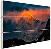 FotoCadeau.nl - Zonsondergang Himalaya Hout 80x60 cm - Foto print op Hout (Wanddecoratie)