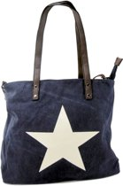 Beagles STER Omhang Hand & Schoudertas Shopper Navy Blauw Trendy Tas