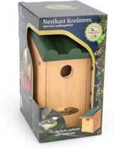 Vogelbescherming Cadeaupakket Koolmees Vogelhuisje - Bruin/Groen - 14 x 12 x 27 cm - Ø32 mm
