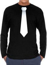 Stropdas wit long sleeve t-shirt zwart voor heren- zwart shirt met lange mouwen en stropdas bedrukking voor heren XL