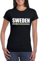 Zwart Zweden supporter t-shirt voor dames XS