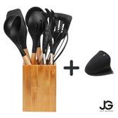 Siliconen kookgerei set 9-delig - Hoge kwaliteit - Designer - Gratis houder - Keukengerei - Hout - BPA vrij - geen krassen meer - zwart