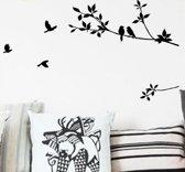 Muursticker vogels op tak zwart / Muurdecoratie zwart 57X100cm