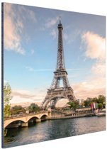Eiffeltoren vanaf de Seine Aluminium 60x90 cm - Foto print op Aluminium (metaal wanddecoratie)