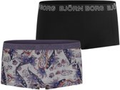 Bjorn Borg Paisley dames minishort - 2pack - licht grijs
