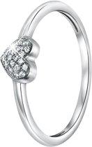 Lucardi - Zilveren ring hart met zirkonia
