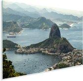Suikerbroodberg in Rio de Janeiro van bovenaf Plexiglas 120x80 cm - Foto print op Glas (Plexiglas wanddecoratie)