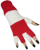 Handschoenen vingerloos gebreid uni rood/wit