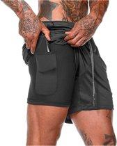 Sportbroekje voor Heren - Gym broek met binnenzak voor mobiel - 2 in 1 Pocket Shorts - Running, Fitness, Sport broekje - Quick Dry - Mobiel Zak - (Zwart - Maat M)