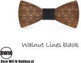 Houten strik: Walnut lines Black