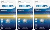 3 Stuks - Philips LR44/76A 1.5v Alkaline knoopcel batterij