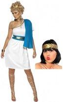 Wit met blauw romeins jurkje inclusief lauwerkrans maat M