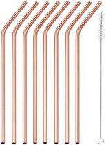Premium RVS Rietjes van Goodly – 6 stuks – Rose Goud – Milieuvriendelijk – Herbruikbaar – Inclusief Schoonmaakborstel – Ideaal voor Cocktails en Smoothies – 7-delige set – Gebogen