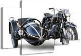 Canvas schilderij Motor   Grijs, Zwart, Wit   160x90cm 4Luik
