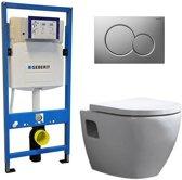 Geberit UP 320 Toiletset - Inbouw WC Hangtoilet Wandcloset - Daley Sigma-01 Mat Chroom