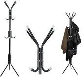 Klassieke Staande Kapstok – Garderobe – Kledinghanger - 12 haken – 175 x 42 cm - Zwart