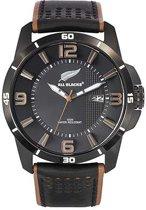 All Blacks 680264 analoog horloge 44 mm 100 meter zwart/ bruin