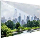 Groen park in Chicago Glas 30x20 cm - klein - Foto print op Glas (Plexiglas wanddecoratie)