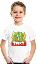 Spiky de dinosaurus t-shirt wit voor kinderen - unisex - dino shirt L (146-152)