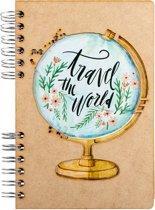 Houten notitieboek - A5 – Blanco – Travel the World