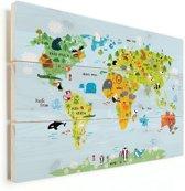 Wereldkaart voor kinderen vurenhout dieren kinderkamer klein 40x30 cm   Wereldkaart Hout