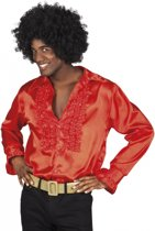 Rode rouche blouse M - 80's & 90's disco blouse