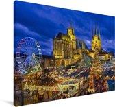 Avondfoto van Erfurt in Duitsland Canvas 90x60 cm - Foto print op Canvas schilderij (Wanddecoratie woonkamer / slaapkamer) / Europese steden Canvas Schilderijen