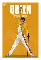 Canvas Schilderij * Freddie Mercury QUEEN * - Moderne Kunst aan je Muur - Kleur - 50 x 70 cm
