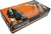 Grippaz 2-zijdige draagbare nitril wegwerp handschoenen type 246 - extra sterk - zwart - vishuidstructuur - maat M/8