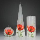 Kaarsen Set Handgeschilderd - Bloem Klaproos - Wit/Rood
