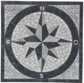 Mozaiek medallion windroos 90 x 90