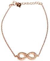 Fate Jewellery Armband FJ510 - Infinity Bracelet - 925 Zilver - Rosé verguld - Ingelegd met Zirkonia kristallen