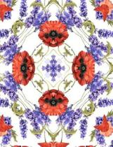 Lavender and Poppies Watercolor Mandala Half Blank Half College Lined Composition Book