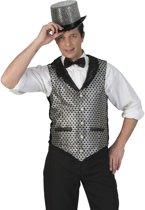 Glitter & Glamour Kostuum   Disco Malienkolder Gilet Zilver Man   Maat 60-62   Carnaval kostuum   Verkleedkleding