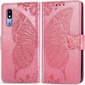 Let op type!! Vlinder liefde bloemen reliĞf horizontale Flip lederen case voor Samsung a2 core met houder & card slots & portemonnee & Lanyard (roze)