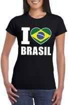 Zwart I love Brazilie fan shirt dames XS