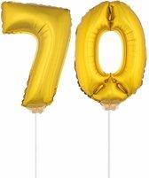 Gouden opblaas cijfer 70 op stokjes - verjaardag versiering / jaar