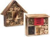 relaxdays insectenhotel insectenhuis, vlinders, bijen, nestkastje, zwarthout A