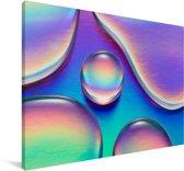 Kleurrijke waterdruppels Canvas 180x120 cm - Foto print op Canvas schilderij (Wanddecoratie woonkamer / slaapkamer) XXL / Groot formaat!