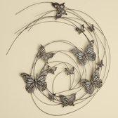 Tuindecoratie - wanddecoratie - groot - dieren - vlinders - metaal - bruin - 83 x 98 cm