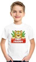 Fast Freddy t-shirt wit voor kinderen - unisex - luipaarden shirt XS (110-116)
