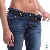 Tokomundo Gespvrije Riem Set van 2 Stuks voor Broek - Riem voor Vrouwen - Riem voor Mannen - Unisex Riem - Broekriem zonder Gesp - Rekbare Riem - Riem - Leren Riem - Gesp Vrij - Mode - Cadeau - Geschenk - Zwart