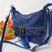 Made in Italia tas met Slangenprint/Echt Leren Schoudertas Clutch Zwart tas Dames tas Zwart