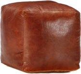 Poef 40x40x40 cm echt geitenleer tan (incl. Fleecedeken)