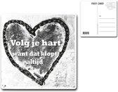 Metalen kaart 15x15cm Volg je hart - 107130122016